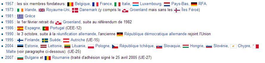 Historique des adhésions CEE