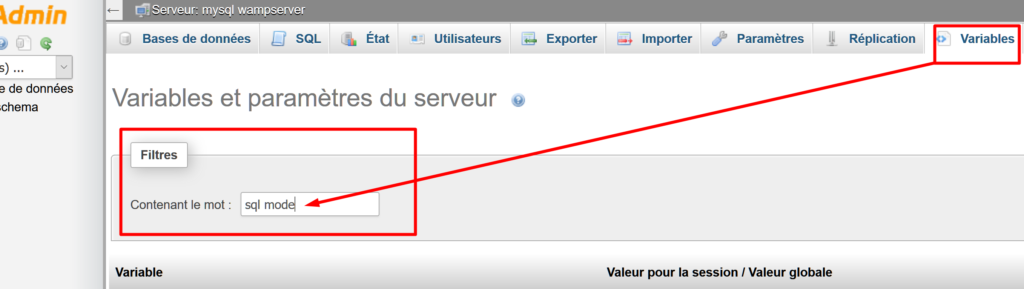 ésactiver le mode STRICT_ALL_TABLES